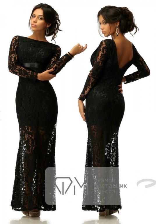 Платье из гипюра и кружева длинное